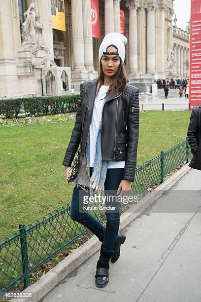 Model Joan Smalls on day 3 of Paris Haute Couture Fashion Week Spring/Summer 2015 on January 27 2015 in Paris France