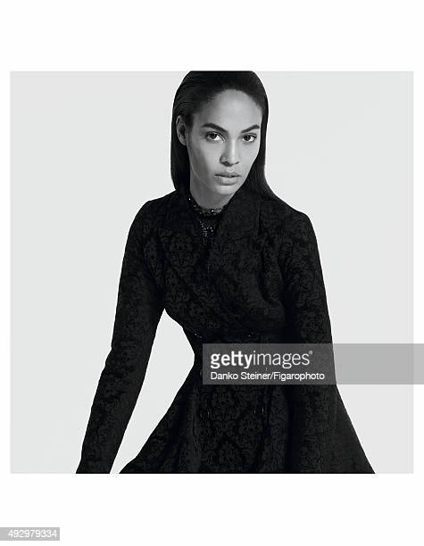 Model Joan Smalls poses at a fashion shoot for Madame Figaro on June 27 2015 in Paris France Dress necklaces Makeup by Estée Lauder PUBLISHED IMAGE...