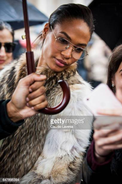 Model Joan Smalls poses for a selfie in the streets of Paris after the Mugler show during Paris Fashion Week Womenswear Fall/Winter 2017/2018 on...