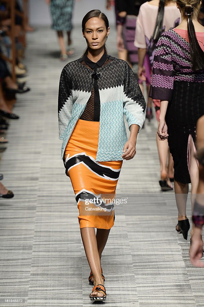 Model <a gi-track='captionPersonalityLinkClicked' href=/galleries/search?phrase=Joan+Smalls&family=editorial&specificpeople=5714628 ng-click='$event.stopPropagation()'>Joan Smalls</a> walks the runway at the Missoni Spring Summer 2014 fashion show during Milan Fashion Week on September 22, 2013 in Milan, Italy.