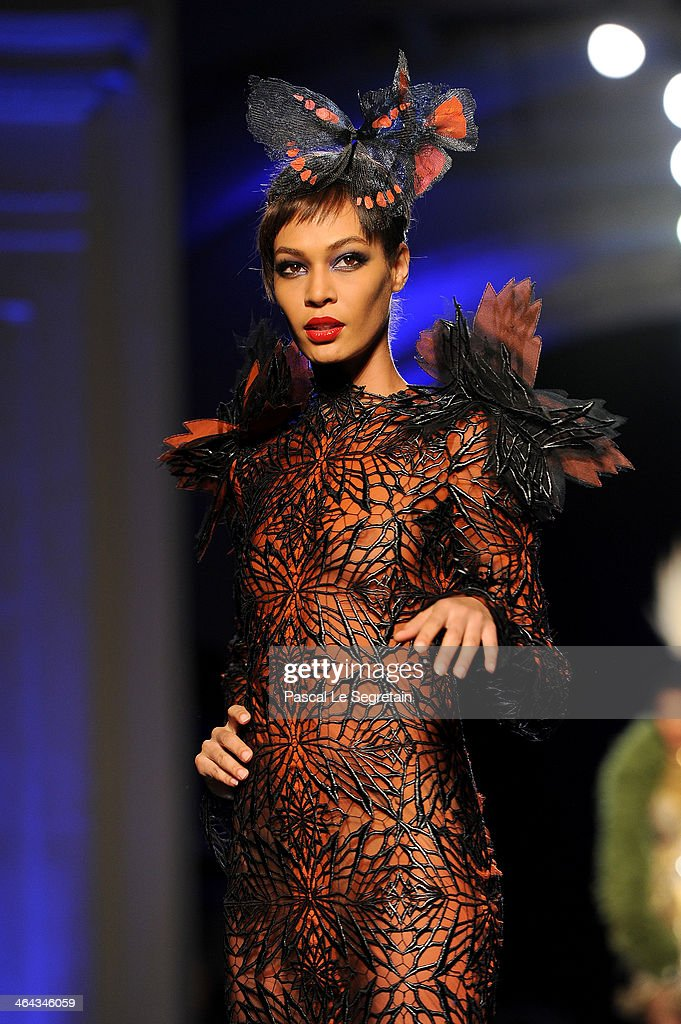 Model Joan Smalls walks the runway during Jean Paul Gaultier show as part of Paris Fashion Week Haute Couture Spring/Summer 2014 on January 22 2014...