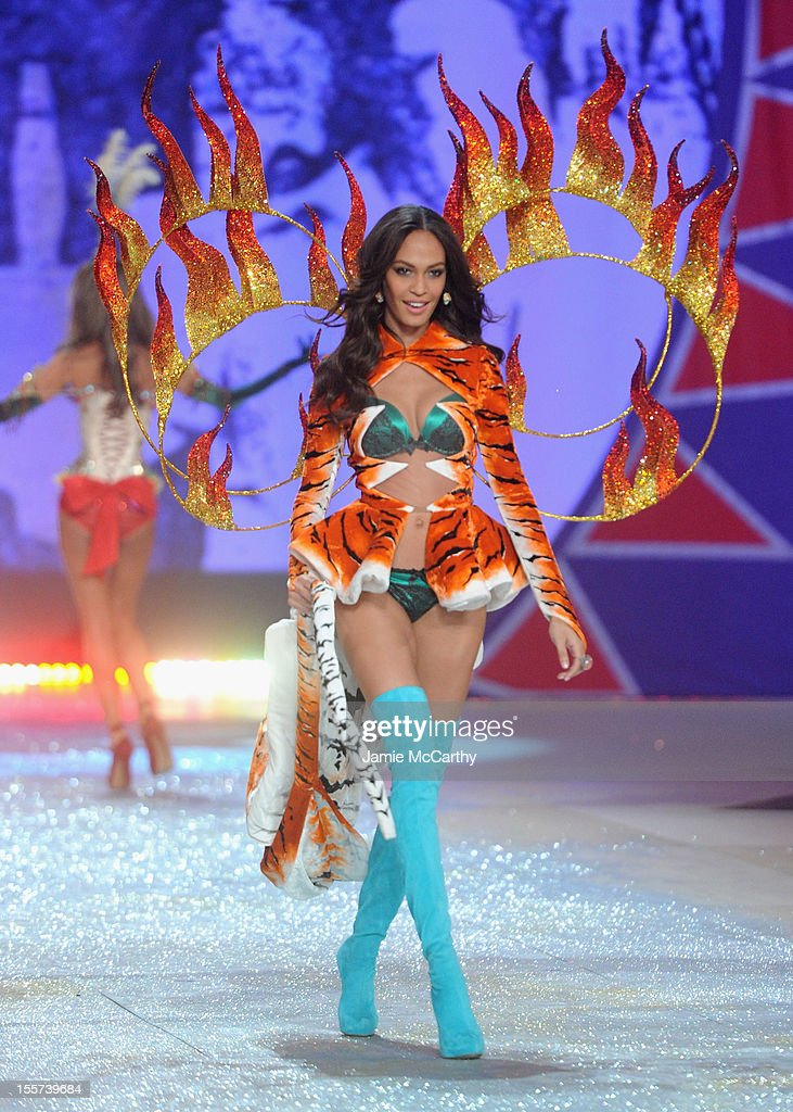 Model Joan Smalls walks the runway during the 2012 Victoria's Secret Fashion Show at the Lexington Avenue Armory on November 7, 2012 in New York City.