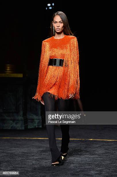 Model Joan Smalls walks the runway during the Balmain show as part of the Paris Fashion Week Womenswear Fall/Winter 2015/2016 on March 5 2015 in...