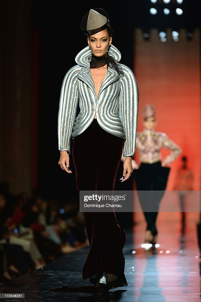 Model <a gi-track='captionPersonalityLinkClicked' href=/galleries/search?phrase=Joan+Smalls&family=editorial&specificpeople=5714628 ng-click='$event.stopPropagation()'>Joan Smalls</a> walks the runway during the Jean Paul Gaultier show as part of Paris Fashion Week Haute-Couture Fall/Winter 2013-2014 at 325 Rue Saint Martin on July 3, 2013 in Paris, France.
