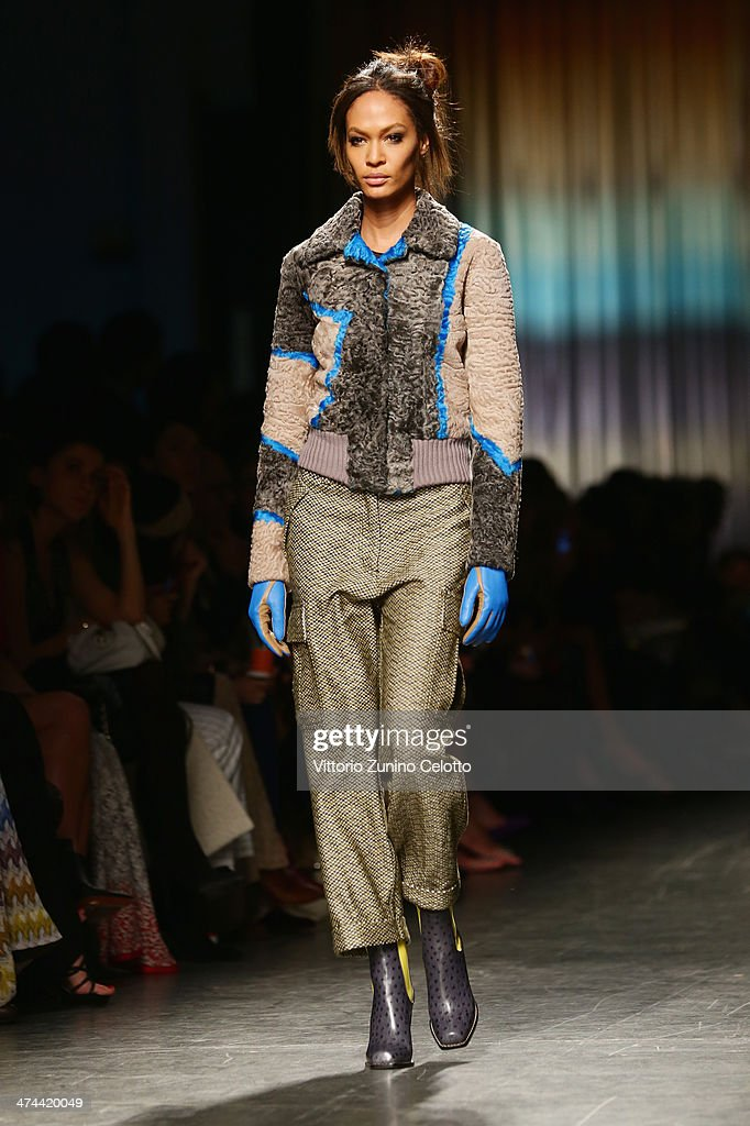 Model <a gi-track='captionPersonalityLinkClicked' href=/galleries/search?phrase=Joan+Smalls&family=editorial&specificpeople=5714628 ng-click='$event.stopPropagation()'>Joan Smalls</a> walks the runway during the Missoni show as part of Milan Fashion Week Womenswear Autumn/Winter 2014 on February 23, 2014 in Milan, Italy.