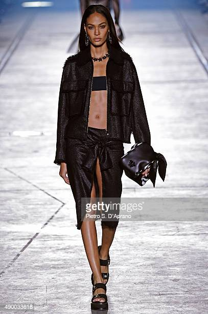 Model Joan Smalls walks the runway during the Versace fashion show as part of Milan Fashion Week Spring/Summer 2016 on September 25 2015 in Milan...