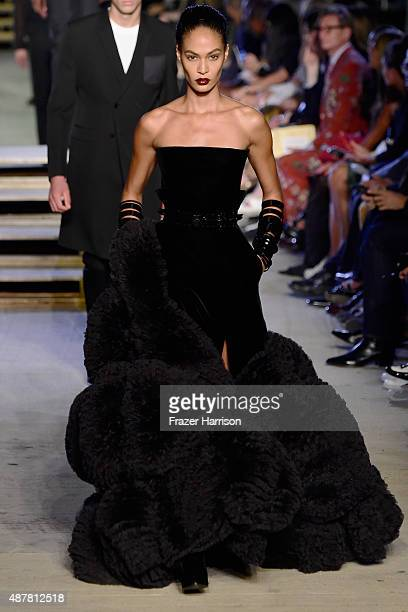 Model Joan Smalls walks the runway wearing Givenchy Spring 2016 during New York Fashion Week at Pier 26 at Hudson River Park on September 11 2015 in...