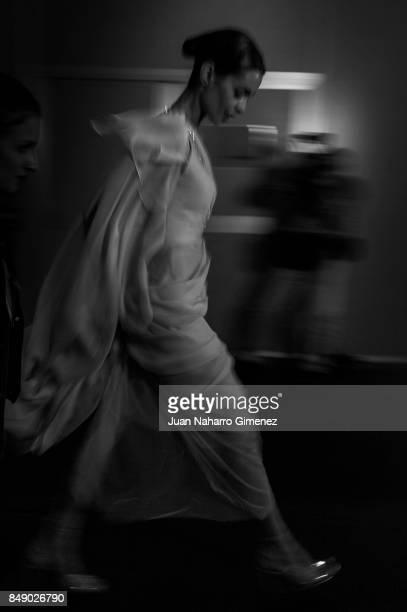 Model Joana Sanz is seen backstage at the Annibal Laguna fashion show during the MercedesBenz Fashion Week Madrid Spring/Summer 2018 at IFEMA on...