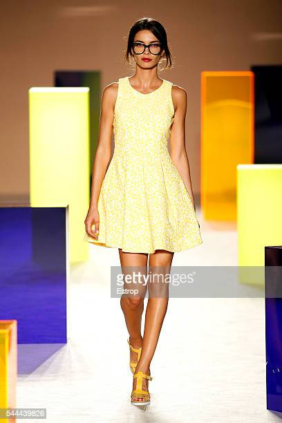 Model Joana Sanz walks the runway at the Antonio Miro designed by Alberto Villagrasa show during the Barcelona 080 Fashion Week Spring/Summer 2017 at...
