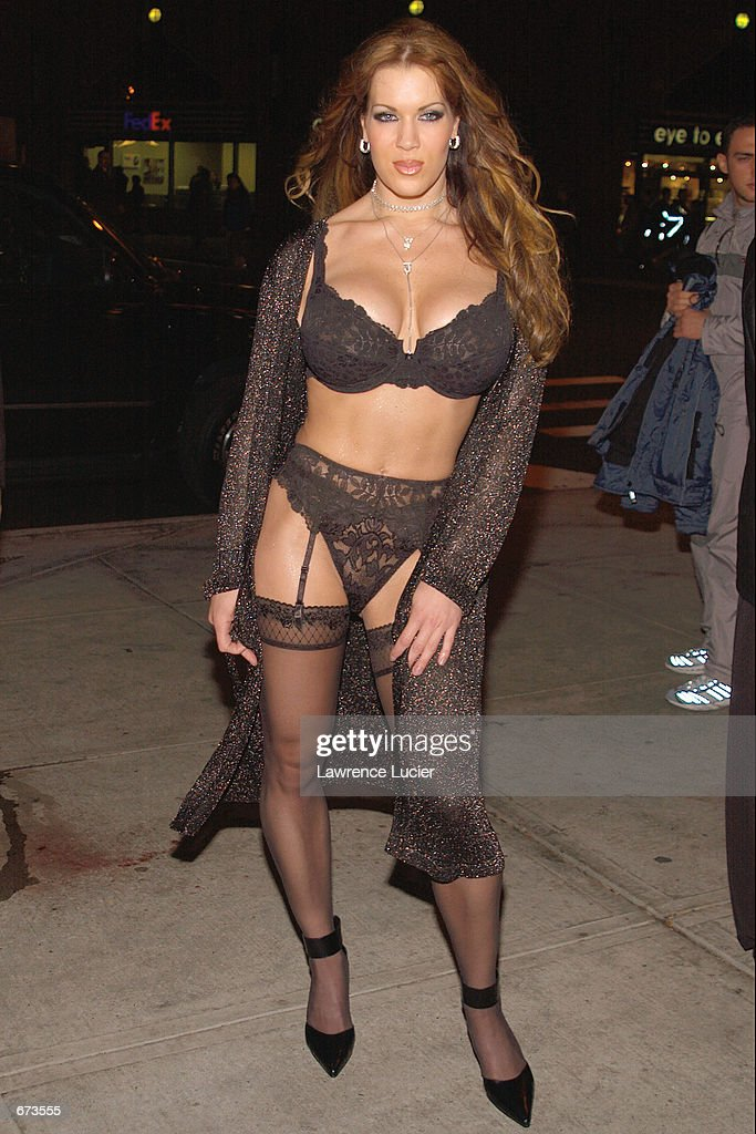 Model Joanie Laurer formerly known as WWF wrestler Chyna arrives at a preview of the Exotic Erotic Ball at Virgin Megastore November 26 2001 in New...