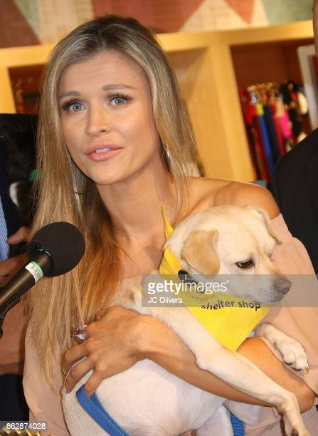 Model Joanna Krupa speaks during a press conference celebrating Calfornia Governor Jerry Brown signing California assembly Bill 485 The Pet Rescue...