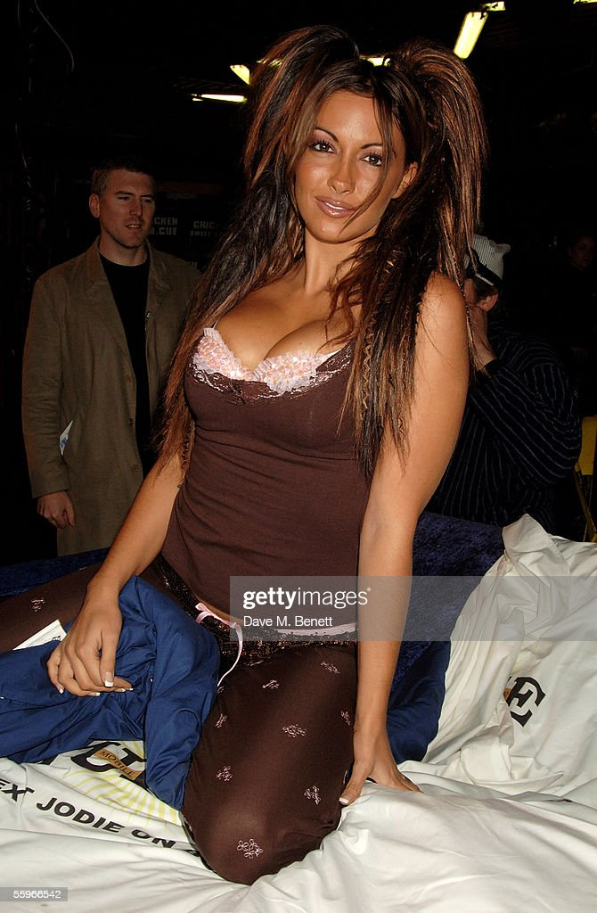Model Jodie Marsh attends the 'Playboy Exposed' Private View at the Sony Ericsson Proud Camden on October 19, 2005 in London, England. The show features a selection of images charting the history of Hugh Hefner's men's magazine.
