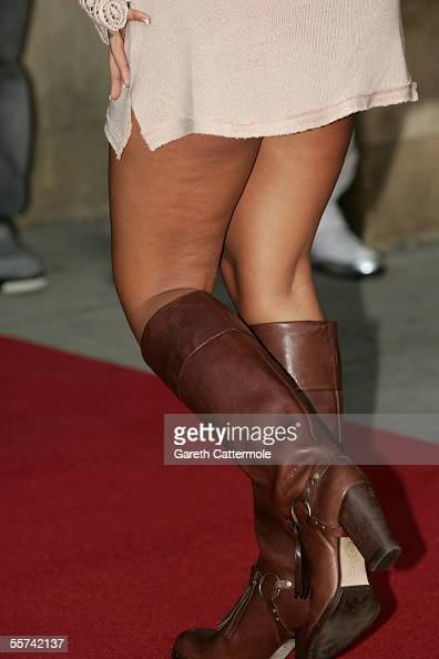 Model Jodie Marsh's boots are seen as she arrives at the MOBO Awards 2005 the tenth anniversary of the annual music event at the Royal Albert Hall on...