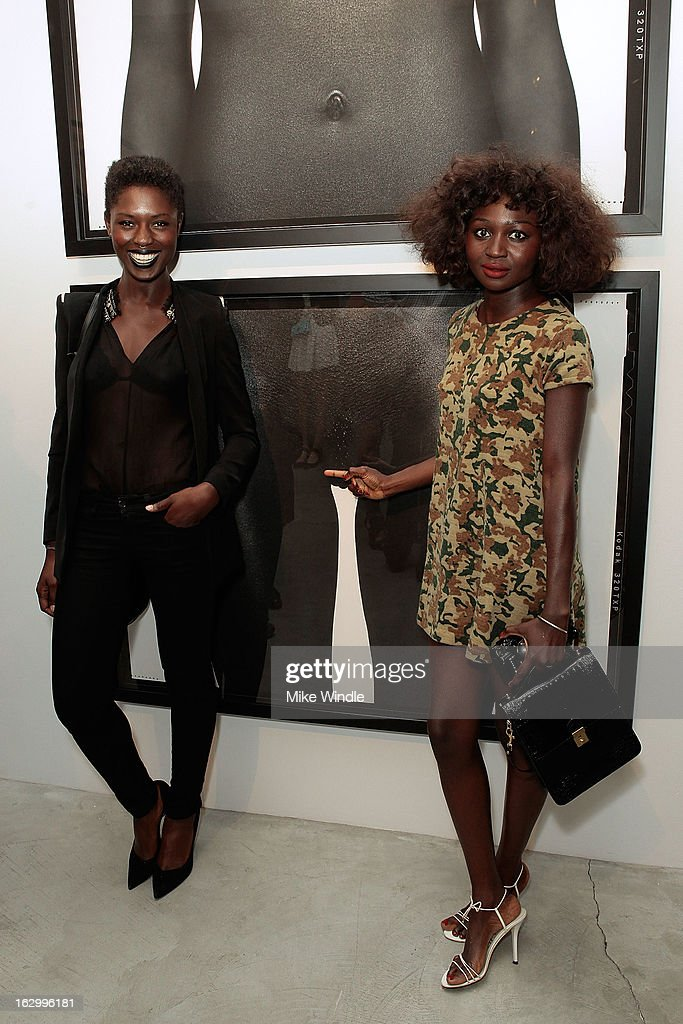 Model Jodie Smith (L) and Oroma Elewa attend the Samuel Bayer Ace Gallery Exhibit Opening, presented by Panavision at Ace Gallery on March 2, 2013 in Beverly Hills, California.