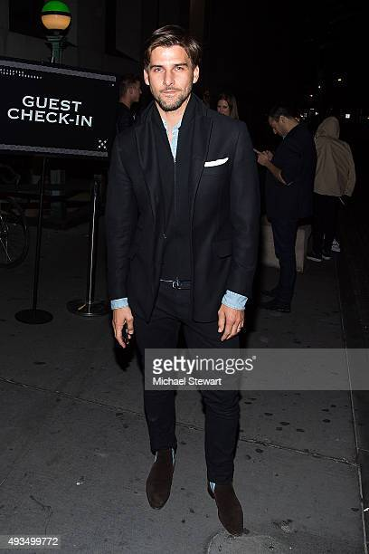 Model Johannes Huebl seen outside of the BALMAIN X HM Collection launch event at 23 Wall Street on October 20 2015 in New York City