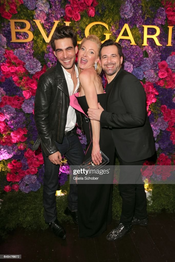 Model Jon Kortajarena and Princess Lilly zu Sayn-Wittgenstein-Berleburg and Bulgari International Communications Director Stephane Gerschel during the Bulgari Pre-Oscars party at hotel Chateau Marmont on February 25, 2017 in Los Angeles, California.