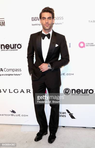 Model Jon Kortajarena attends the 25th Annual Elton John AIDS Foundation's Academy Awards Viewing Party at The City of West Hollywood Park on...