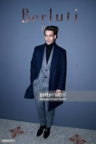 Model Jon Kortajarena attends the Berluti Menswear Fall/Winter 20162017 show as part of Paris Fashion Week on January 22 2016 in Paris France