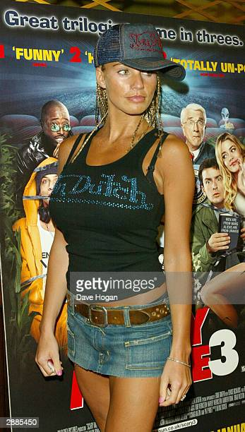 Model Jordan arrives for the European Premiere of 'Scary Movie 3 Episode 1 Lord of the Brooms' at the UGC Haymarket on January 20 2004 in London