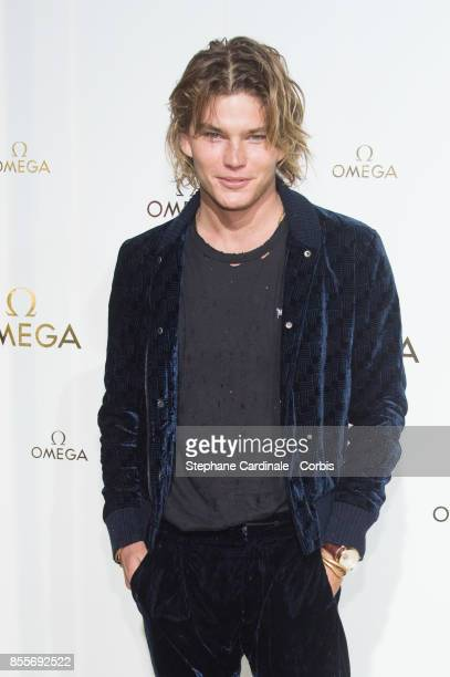 Model Jordan Barrett attends the 'Her Time' Omega Photocall as part of the Paris Fashion Week Womenswear Spring/Summer 2018 at on September 29 2017...