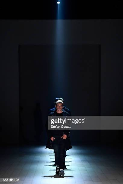Model Jordan Barrett walks the runway during the Justin Cassin show at MercedesBenz Fashion Week Resort 18 Collections at Carriageworks on May 15...