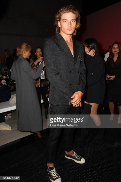 Model Jordan Barrett watches the StrateasCarlucci show at MercedesBenz Fashion Week Resort 18 Collections at Carriageworks on May 18 2017 in Sydney...