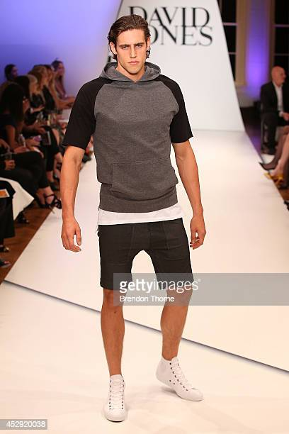 Model Jordan Stenman showcases designs by Zanerobe at the David Jones Spring/Summer 2014 Collection Launch at David Jones Elizabeth Street Store on...