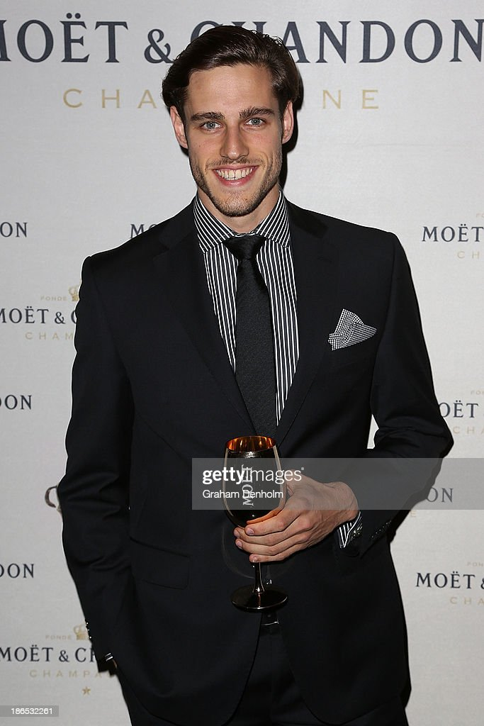 Model <a gi-track='captionPersonalityLinkClicked' href=/galleries/search?phrase=Jordan+Stenmark&family=editorial&specificpeople=8682038 ng-click='$event.stopPropagation()'>Jordan Stenmark</a> poses at the Moet & Chandon Derby Eve party held at The Waiting Room, Crown Towers on November 1, 2013 in Melbourne, Australia.
