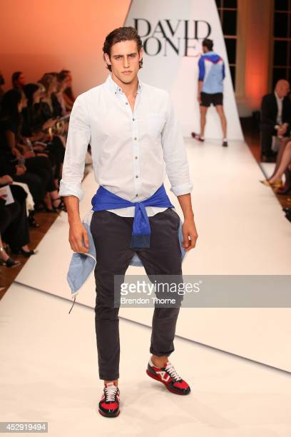 Model Jordan Stenmark showcases designs by Vanishing Elephant at the David Jones Spring/Summer 2014 Collection Launch at David Jones Elizabeth Street...