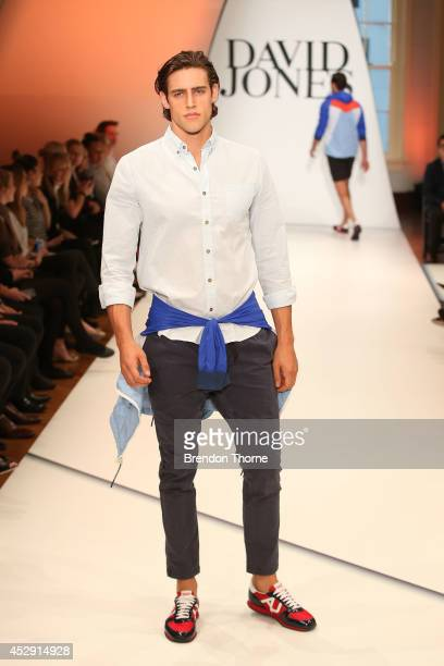 Model Jordan Stenmark showcases designs by Vanishing Elephant during a rehearsal ahead of the David Jones Spring/Summer 2014 Collection Launch at...