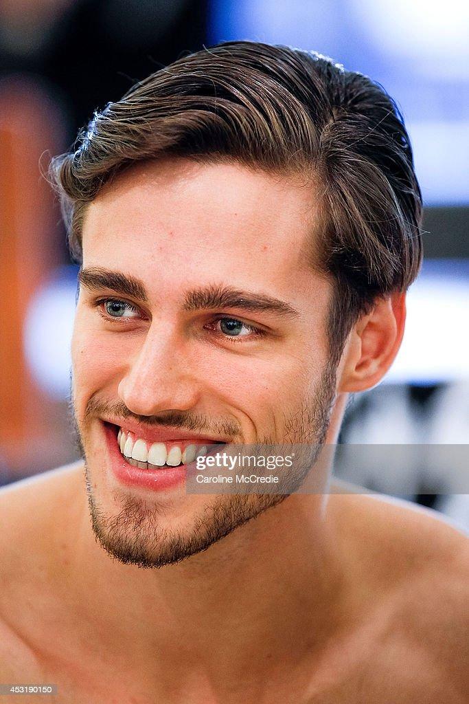 Model Jordan Stenmark smiles at a meet and greet at David Jones Elizabeth Street Store on August 5, 2014 in Sydney, Australia.