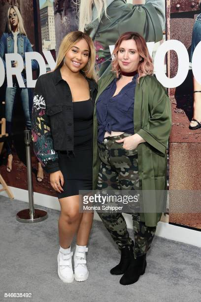 Model Jordyn Woods and host Liz Black pose for a photo at the Jordyn Woods meet greet at Addition Elle on September 13 2017 in New York City