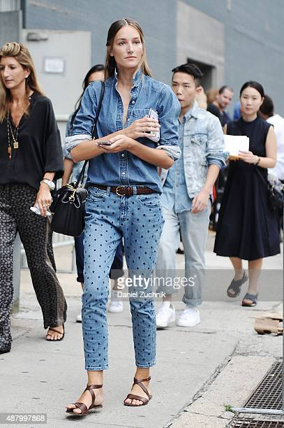 Model Josephine Le Tutour is seen outside the Altuzarra show during New York Fashion Week 2016 on September 12 2015 in New York City