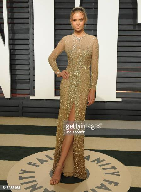 Model Josephine Skriver arrives at the 2017 Vanity Fair Oscar Party Hosted By Graydon Carter at Wallis Annenberg Center for the Performing Arts on...