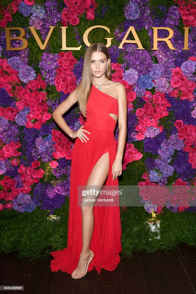 Model Josephine Skriver attends Bulgari's Pre-Oscar Dinner at Chateau Marmont on February 25, 2017 in Hollywood, United States.