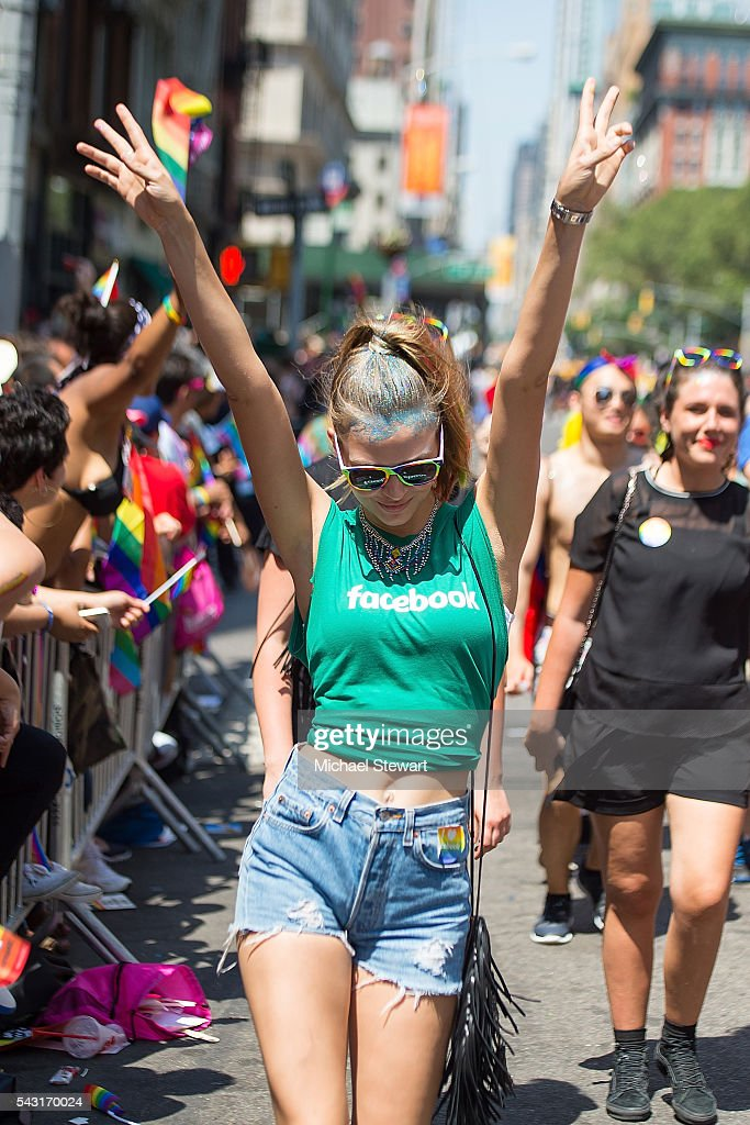 Model <a gi-track='captionPersonalityLinkClicked' href=/galleries/search?phrase=Josephine+Skriver&family=editorial&specificpeople=7496593 ng-click='$event.stopPropagation()'>Josephine Skriver</a> attends the 2016 Pride March on June 26, 2016 in New York City.
