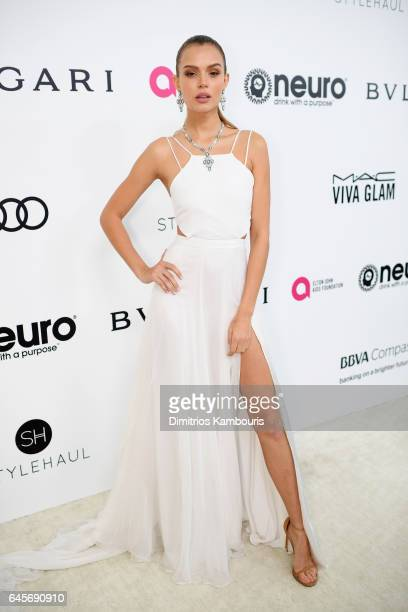 Model Josephine Skriver attends the 25th Annual Elton John AIDS Foundation's Academy Awards Viewing Party at The City of West Hollywood Park on...