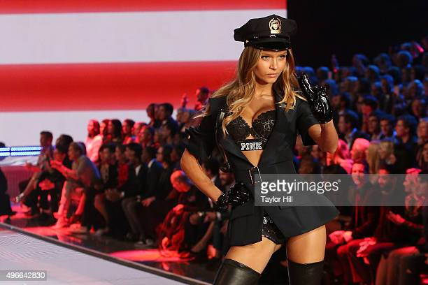 Model Josephine Skriver walks the runway during the 2015 Victoria's Secret Fashion Show at Lexington Avenue Armory on November 10 2015 in New York...