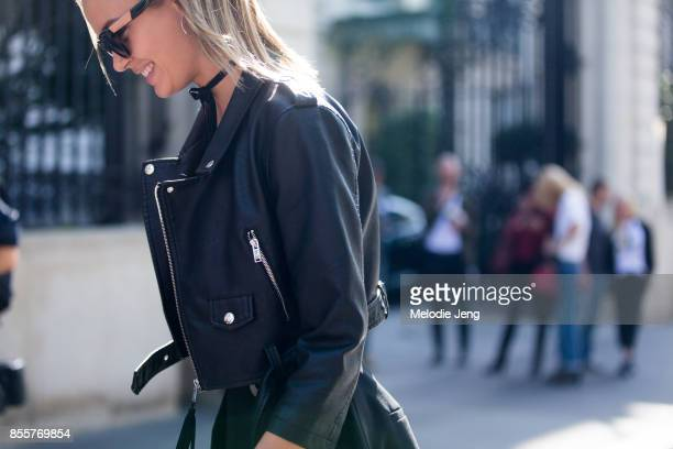 Model Josephine Skriver wears an all black outfit on September 29 2017 in Paris France