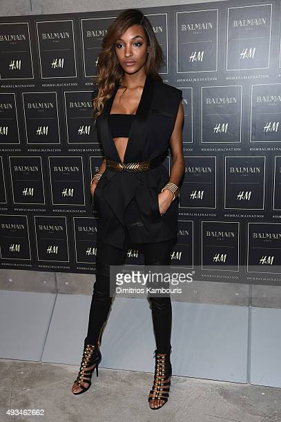 Model Jourdan Dunn attends the BALMAIN X HM Collection Launch at 23 Wall Street on October 20 2015 in New York City