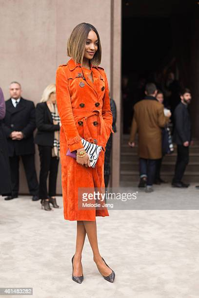 Model Jourdan Dunn attends the Burberry show at the London Collections Men AW15 at on January 12 2015 in London England