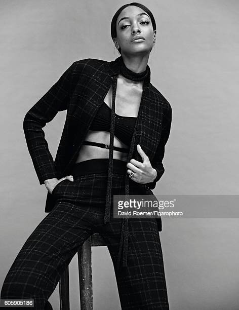 Model Jourdan Dunn poses at a fashion shoot for Madame Figaro on July 5 2016 in Paris France Suit and bra ring PUBLISHED IMAGE CREDIT MUST READ David...