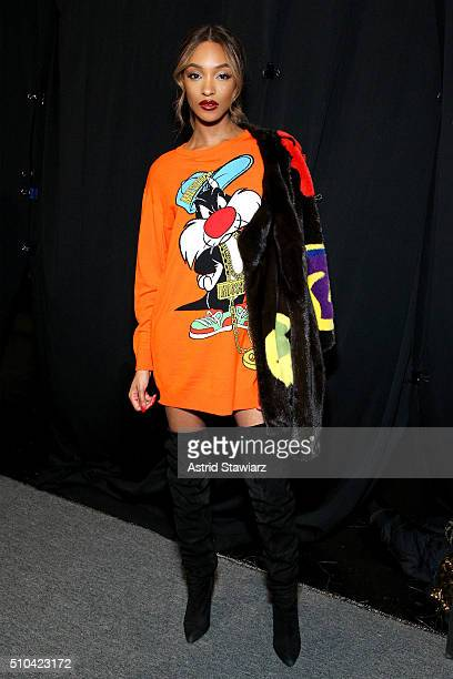 Model Jourdan Dunn poses backstage at the Jeremy Scott Fall 2016 fashion show during New York Fashion Week The Shows at The Arc Skylight at Moynihan...