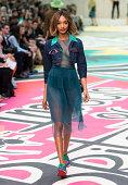 Model Jourdan Dunn walks the runway at the Burberry Prorsum show during London Fashion Week SS15 on September 15 2014 in LondonEngland
