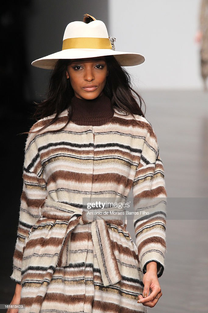 Model <a gi-track='captionPersonalityLinkClicked' href=/galleries/search?phrase=Jourdan+Dunn&family=editorial&specificpeople=4347612 ng-click='$event.stopPropagation()'>Jourdan Dunn</a> walks the runway at the Issa London show during London Fashion Week Fall/Winter 2013/14 at Somerset House on February 16, 2013 in London, England.