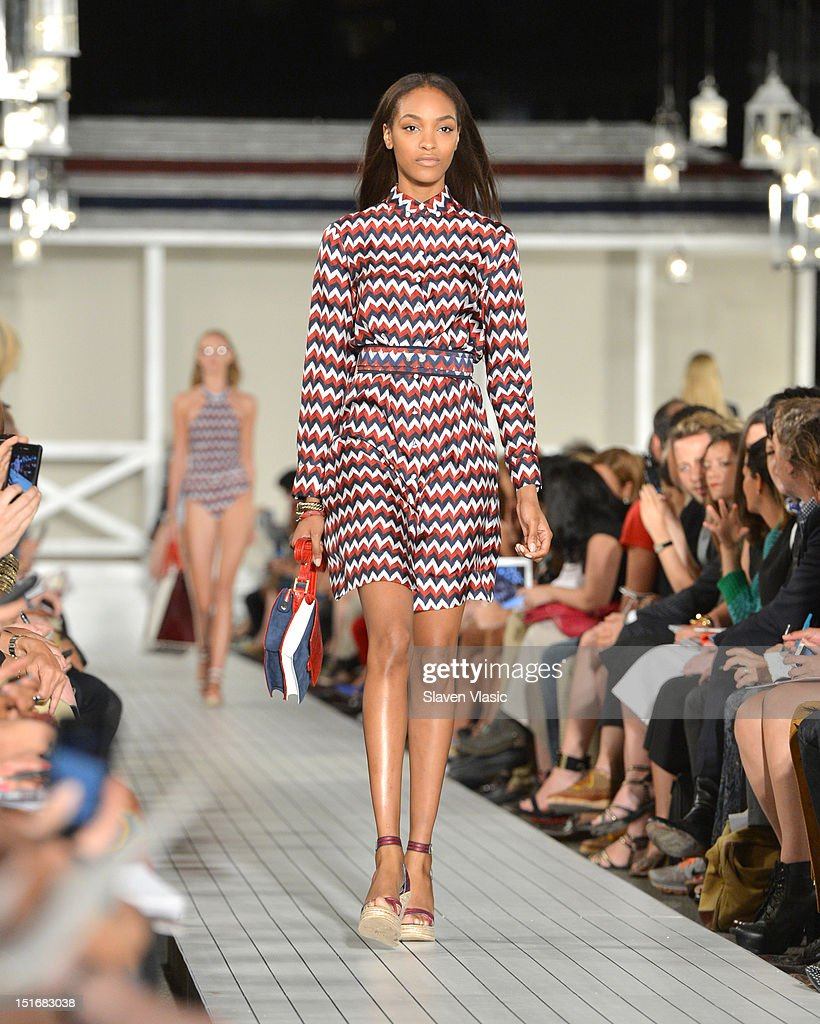 Model <a gi-track='captionPersonalityLinkClicked' href=/galleries/search?phrase=Jourdan+Dunn&family=editorial&specificpeople=4347612 ng-click='$event.stopPropagation()'>Jourdan Dunn</a> walks the runway at the Tommy Hilfiger Women's Spring 2013 fashion show during Mercedes-Benz Fashion Week at The Highline on September 9, 2012 in New York City.