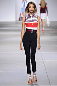 Model Jourdan Dunn walks the runway at the Topshop Unique Red Label Spring Summer 2015 fashion show during London Fashion Week on September 14 2014...