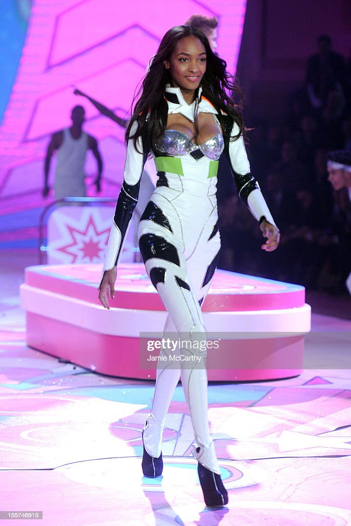 Model Jourdan Dunn walks the runway during the 2012 Victoria's Secret Fashion Show at the Lexington Avenue Armory on November 7, 2012 in New York City.