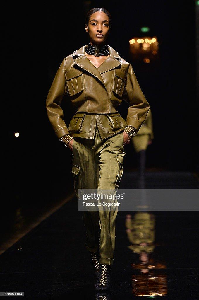 Model Jourdan Dunn walks the runway during the Balmain show as part of the Paris Fashion Week Womenswear Fall/Winter 20142015 on February 27 2014 in...