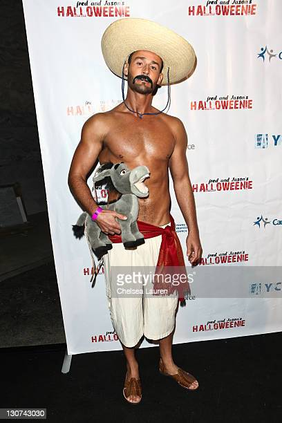 Model JP Calderon costumed as Dirty Sanchez attends LA Gay Lesbian Center's Annual 'Halloweenie' Party at Hollywood Forever on October 28 2011 in...
